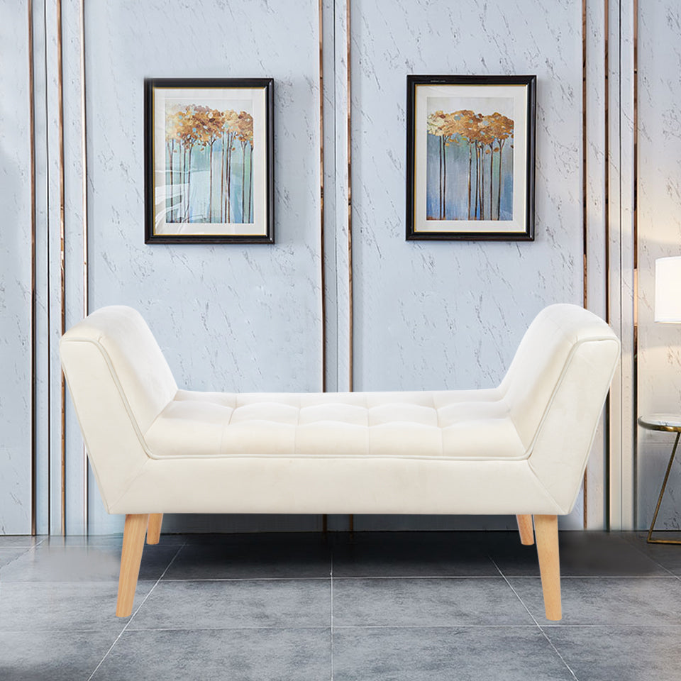 Fanbo Buttoned Window Seat Bench with Natural Wood Legs
