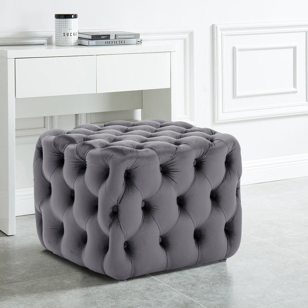 Chesterfield Square Cube Deep Buttoned Velvet Footstool