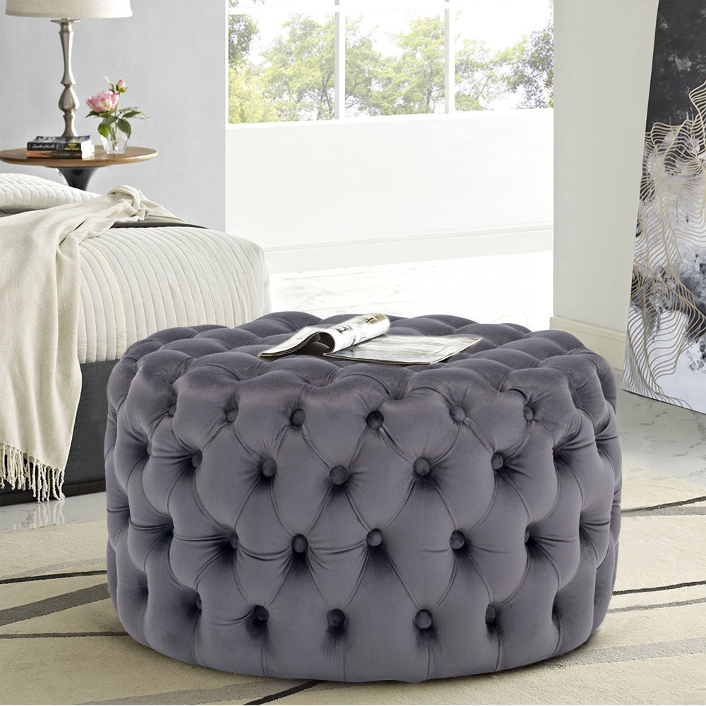 Chesterfield Round Cube Deep Buttoned Velvet Footstool