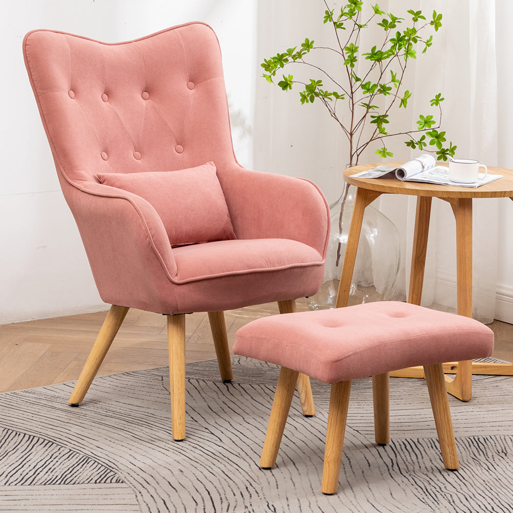 Matte Velvet Buttoned Lounge Armchair Wingback Chair Upholstered Accent Armchair with Ottoman