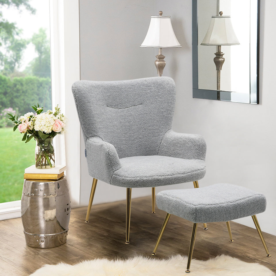 Accent Wingback Armchair Tub Lounge Sofa Chair with Footrest Stool