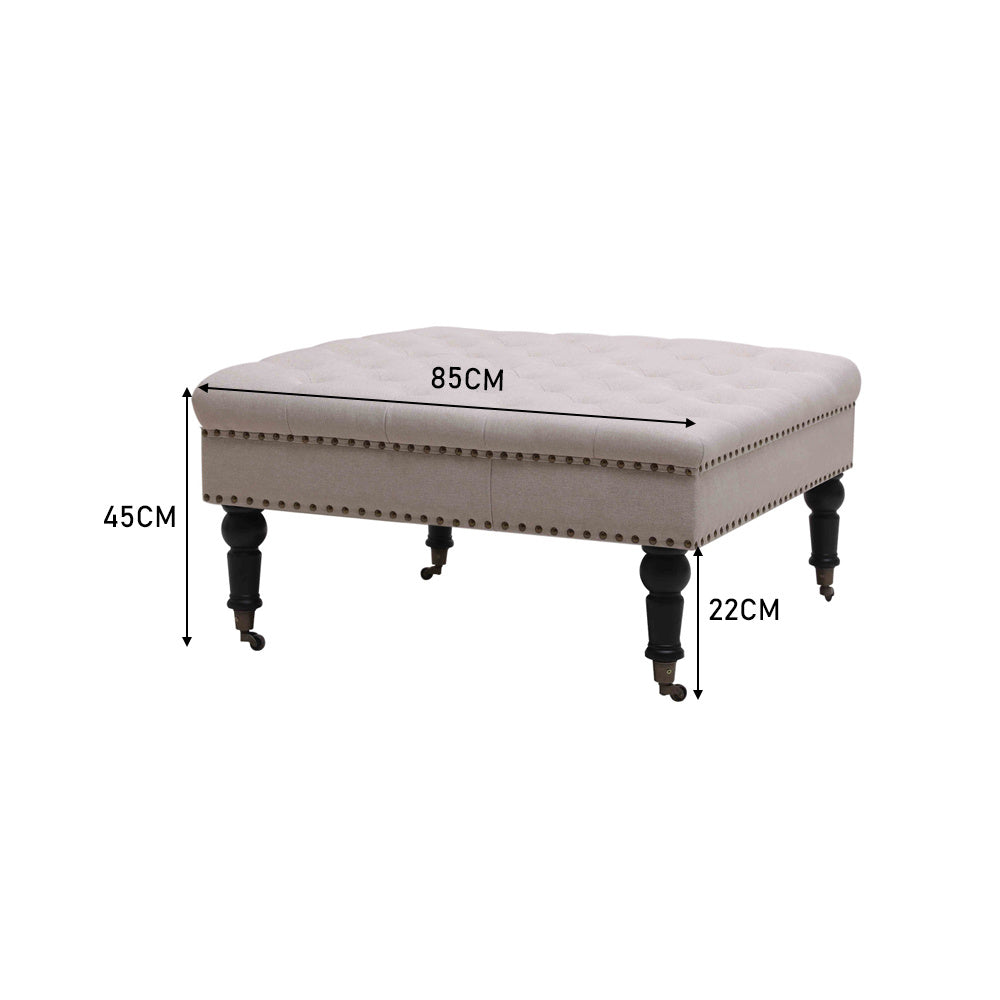 Large Square Chesterfield Pouffe Footstool Tufted Rolling Makeup Ottoman