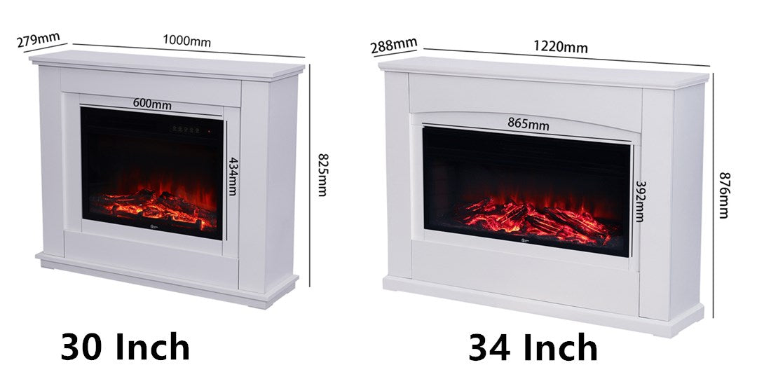 30/34 Inch Inserted Electric Fire Fireplace Suite Mantelpiece Heater LED with Remote
