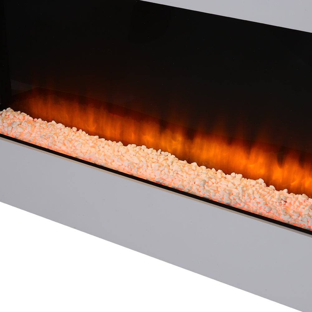 50 Inch Wall Mounted Fireplace Suite Log Electric Fire LED Flame Heater Remote