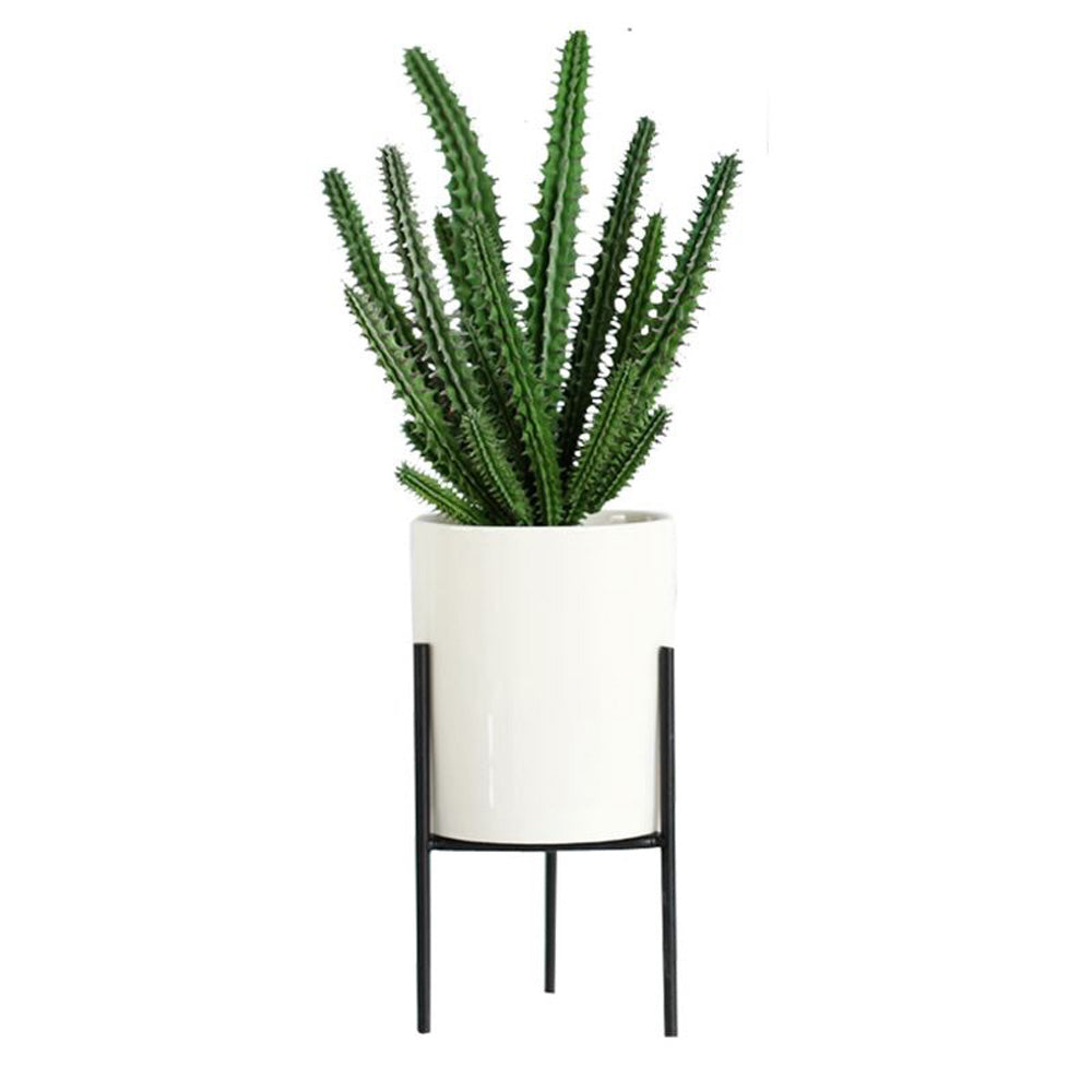 Chic Metal and Ceramic Pot Planter