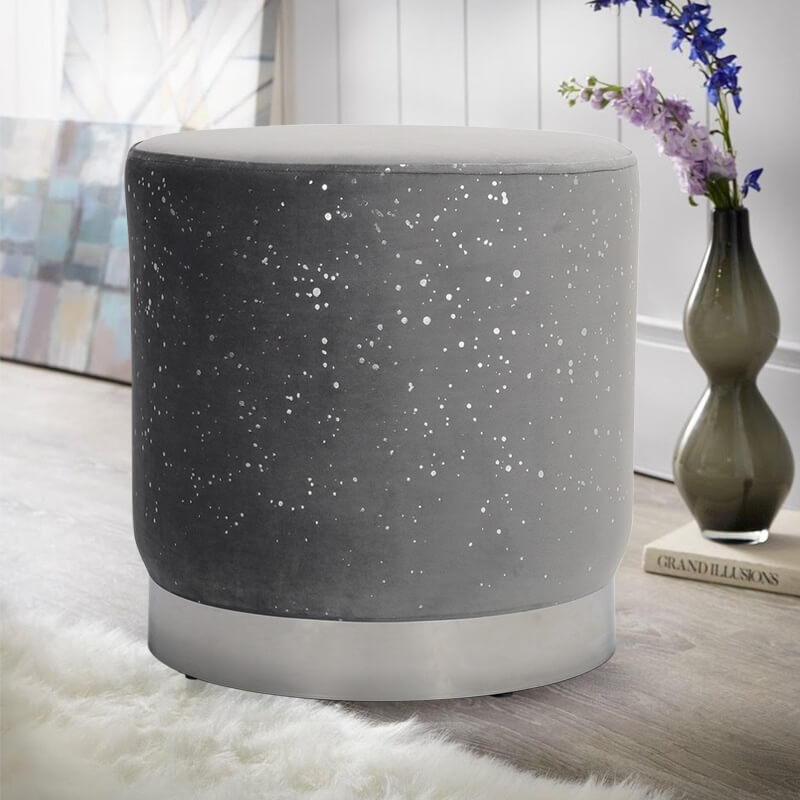 Sparkling Velvet Footstool Dressing Table Chair Vanity Stool Bedroom Pouffe Seat