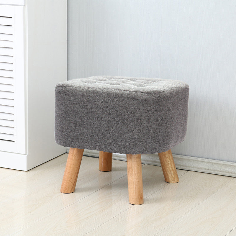 Nordic Square Linen Footstool