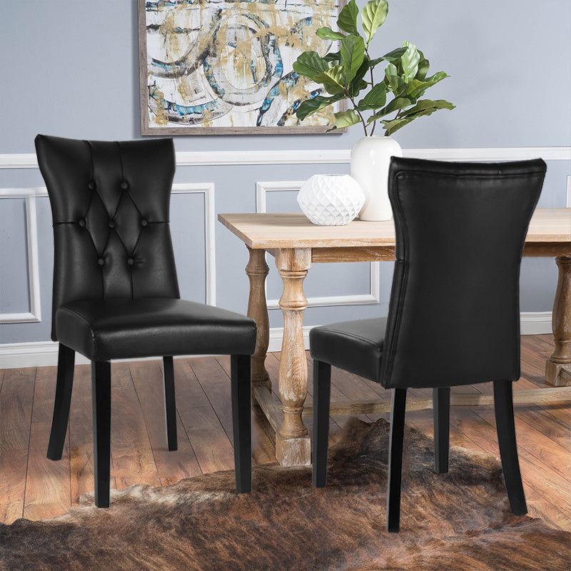 Set of 2 Buttoned Leather Dining Chairs