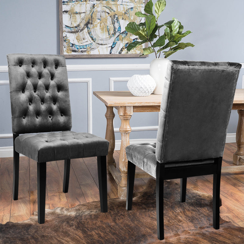 Set of 2 All-buttoned Velvet Dining Chairs
