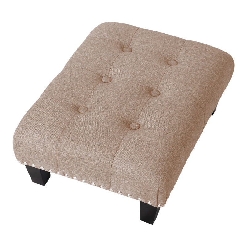 Small Buttoned Linen footstool