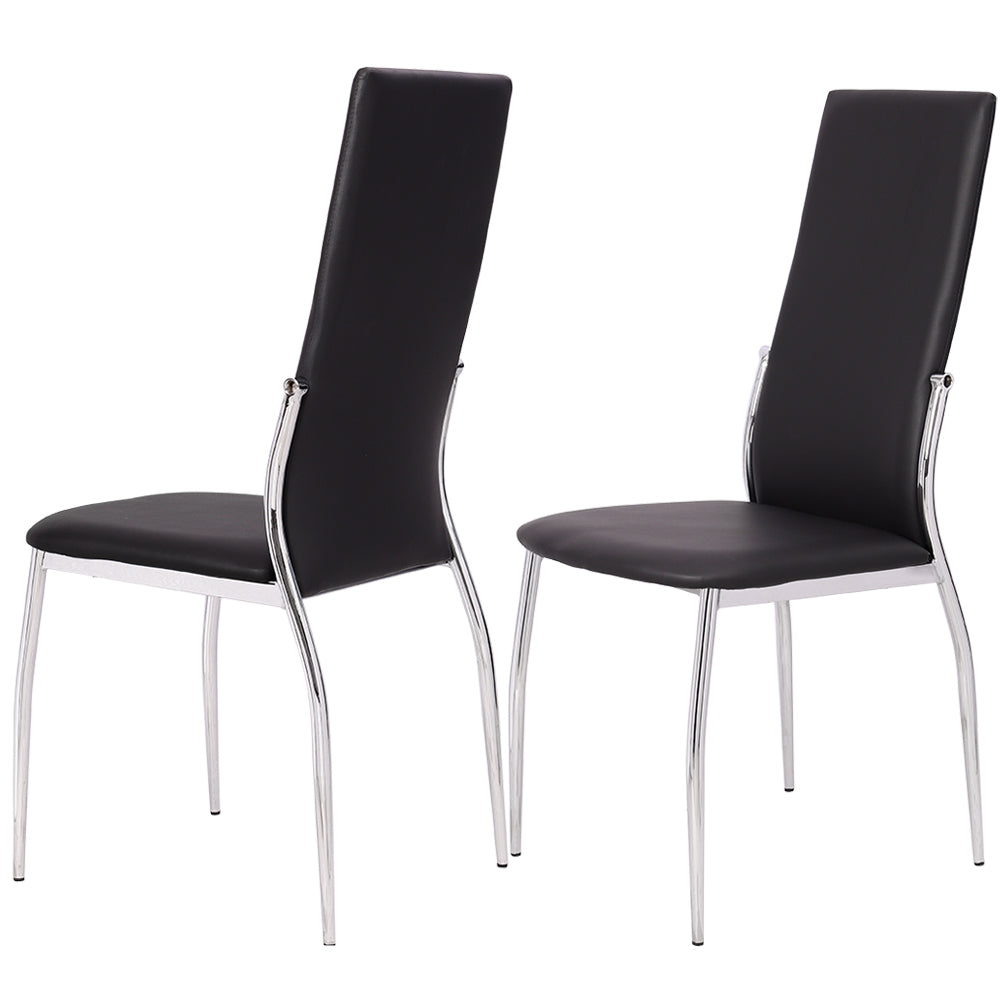 PU Leather Dining Chair Sets with Electroplated Metal Legs