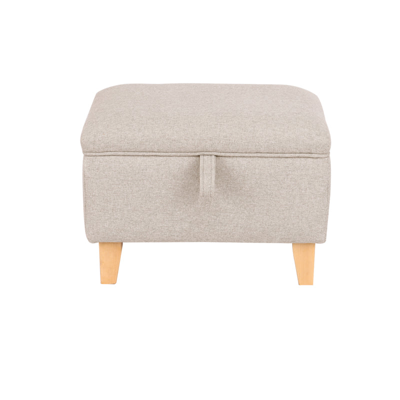 Small Sized Linen Upholstered Storage Ottoman with Straight Legs