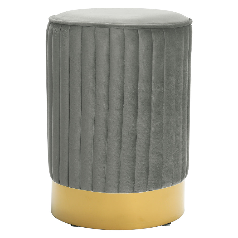 Strip Velvet Stool Dressing Table Chair Round Vanity Pouffe Footstool