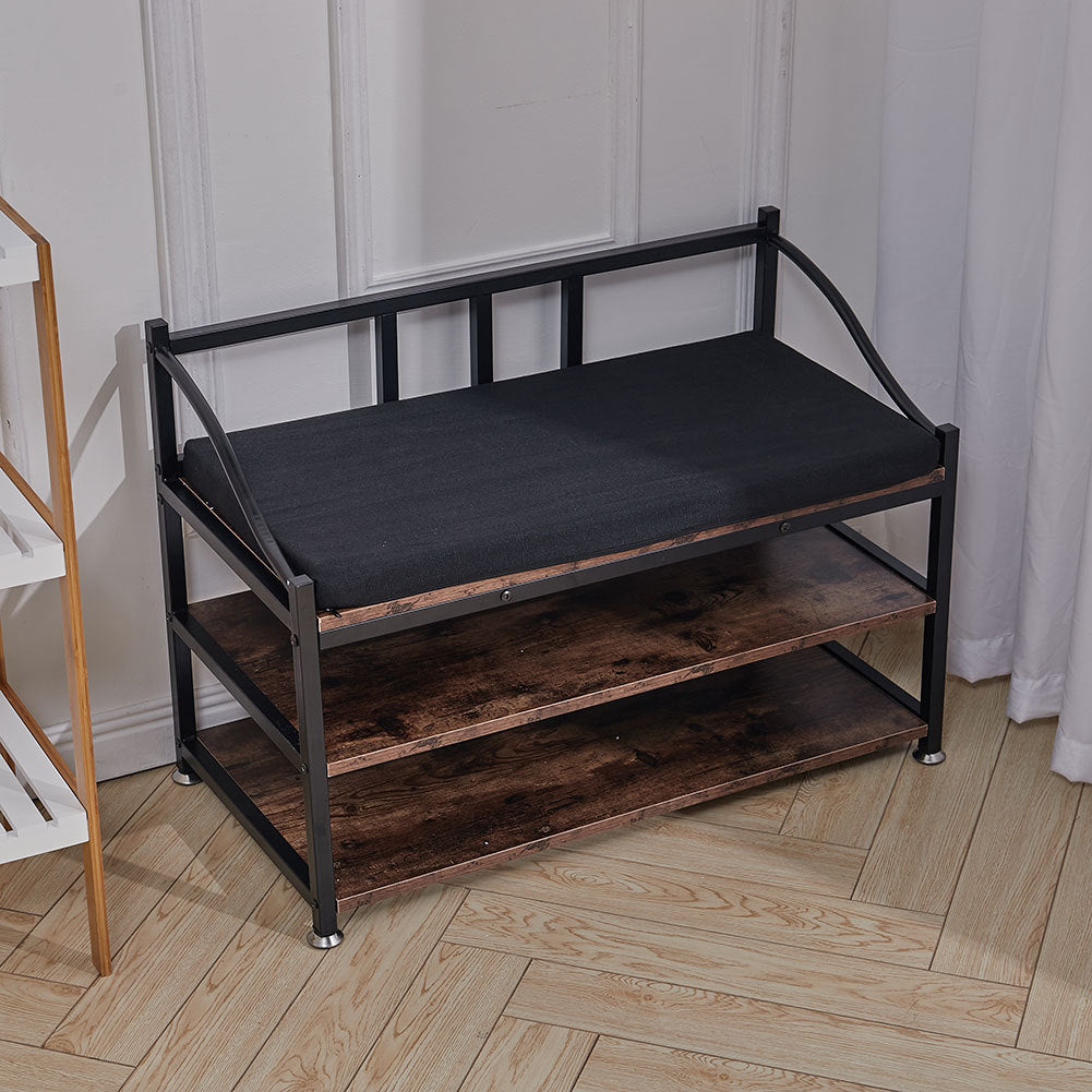 3 Tier Wood Entryway Shoe Storage Bench with Cushion