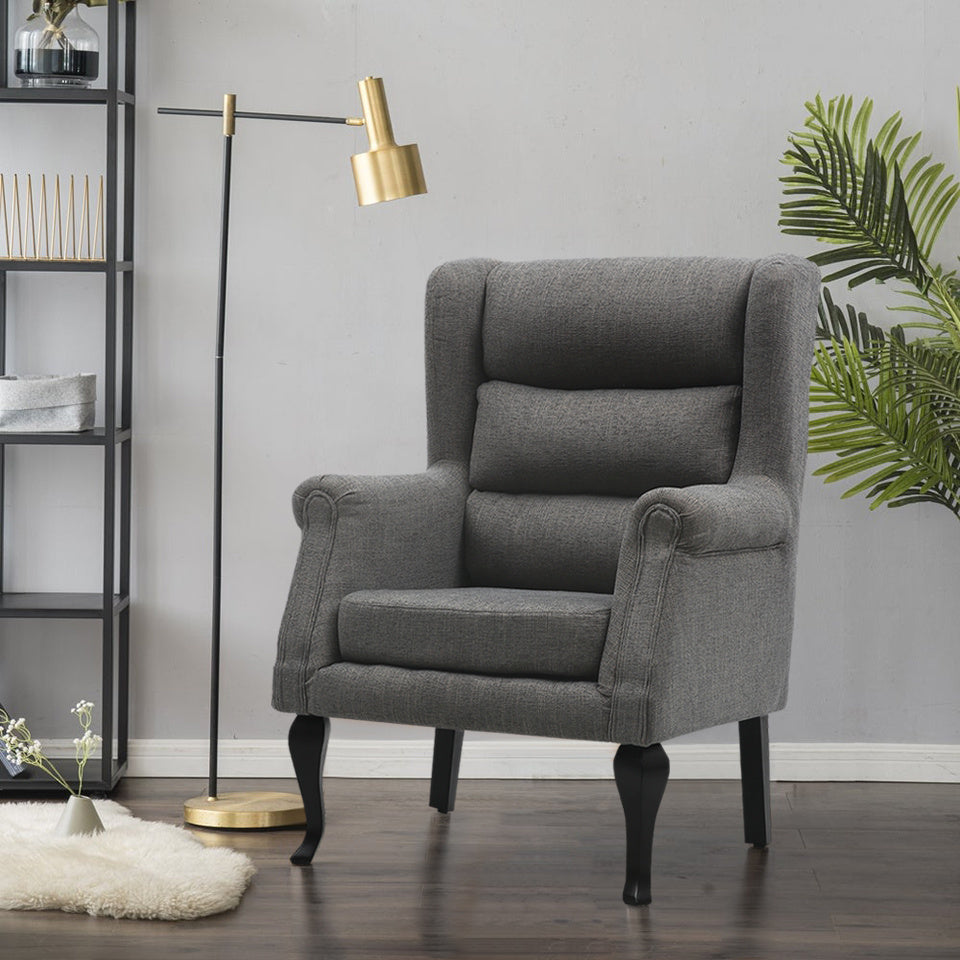 Corduroy Accent Occasional Armchair High Wingback Leisure Chair Elderly Fireside