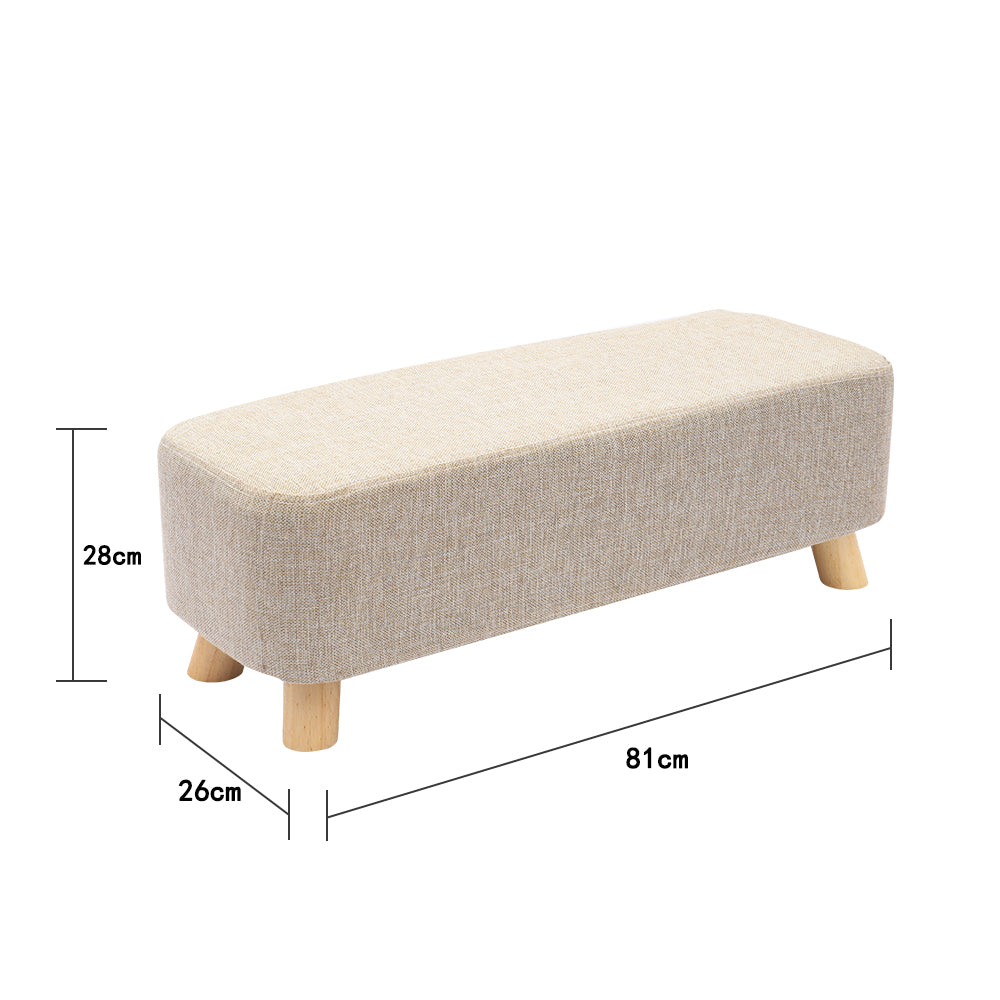 Nordic Large Rectangle Linen Footstool