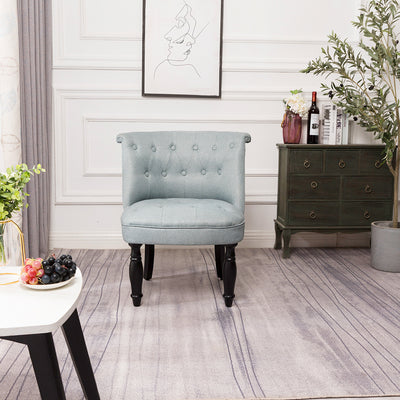 Button Tufted Dining Chair Wingback Tub Chair Upholstered Stool Low Seat