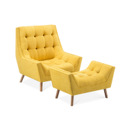 Chenille Super Buttoned Accent Armchair & Footstool - Lifelook Store