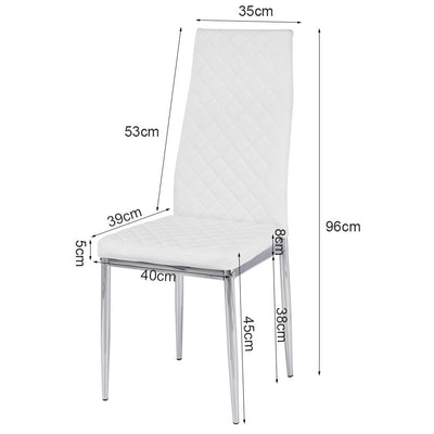 White Diamond PVC Electroplated Dining Chair Sets