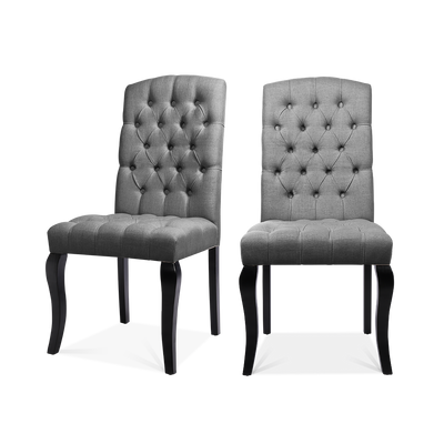 Set of 2 All-buttoned Linen Dining Chairs - Lifelook Store