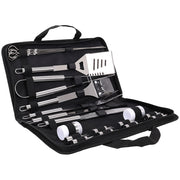 20Pcs Steel BBQ Grill Tools Set Outdoor Barbecue Utensils