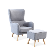 Pinned Linen Wingback Armchair & Footstool - Lifelook Store