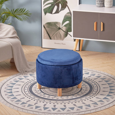Wooden Round Velvet Stool Pouffe Foot Stool End Table Coffee Tea Tables