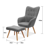Linen Buttoned Wingback Chair & Footstool - Lifelook Store