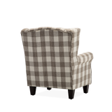 Light Coffee Plaid Linen Walnat Wingback Armchair - Lifelook Store