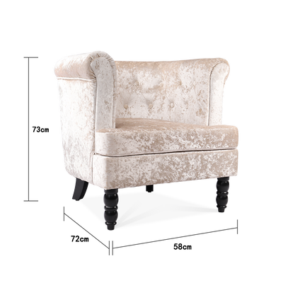 Ice Crushed Velvet Tub Chair in Silver Chesterfield - Lifelook Store