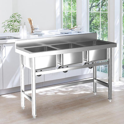 Commercial Catering Stainless Steel  3 Bowls Sink Kitchen Handmade WashTable