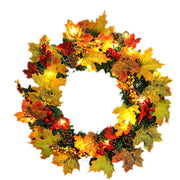40cm/60cm LED Halloween Decor Fall Door Hanging Wreath Autumn Maple Leaf Garland