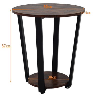 2 Tier Retro Wood Round Coffee Table Sofa End Table