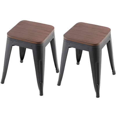 Matte Black Elm Base Square Metal Chair Sets
