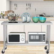 Commercial Stainless Steel Kitchen Cart Prep Catering Table