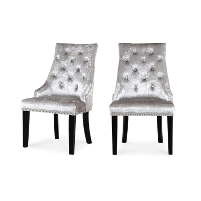 Set of 2 Ringed Buttoned Ice Crushed Velvet Dining Chairs - Lifelook Store
