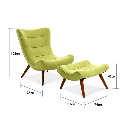 Suede Fabric Pigeon Lounge Chair & Footstool
