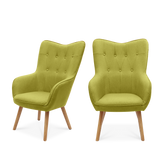 Set of 2 Linen Buttoned Wingback Chairs - Lifelook Store