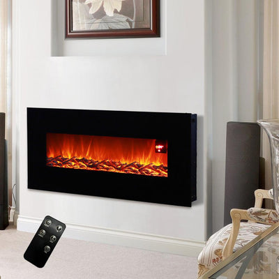 Electric Wall Mounted Fireplaces 3D Flame Heater with Remote Control Mantelpiece