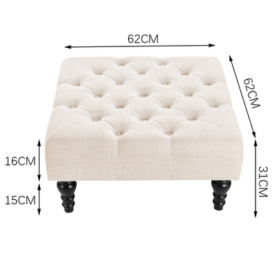 Retro Chesterfield Linen Upholstered Square Footstool