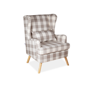 Light Brown Plaid Linen Beech Wingback Armchair - Lifelook Store