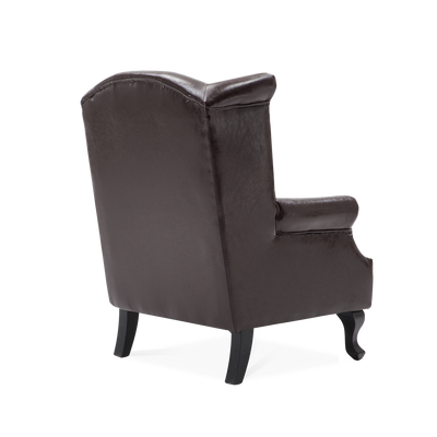 Retro Chesterfield Burnished Leather Wingback Armchair - Lifelook Store