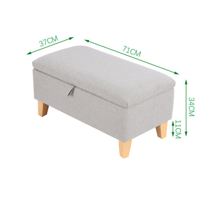 Large Sized Linen Upholstered Storage Ottoman with Straight Legs
