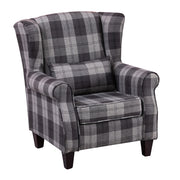Dark Grey Plaid Fabric Walnat Wingback Armchair