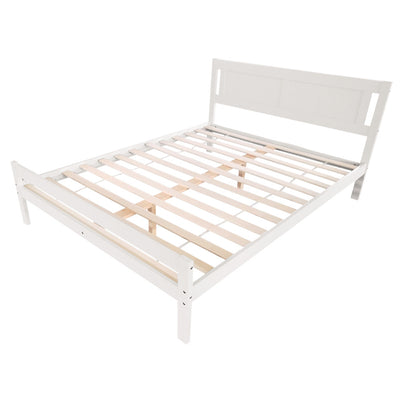 King Size 5ft Bed Frame Wood Solid Pine Bedstead Headboard White