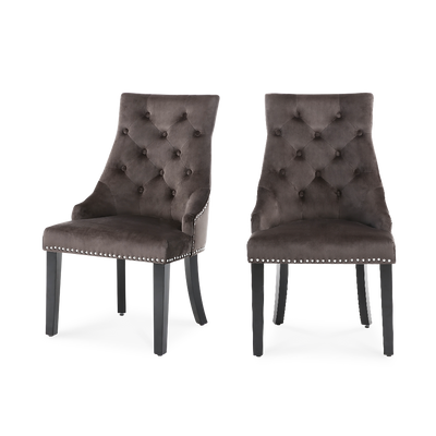 Set of 2 Ringed Buttoned Velvet Dining Chairs - Lifelook Store