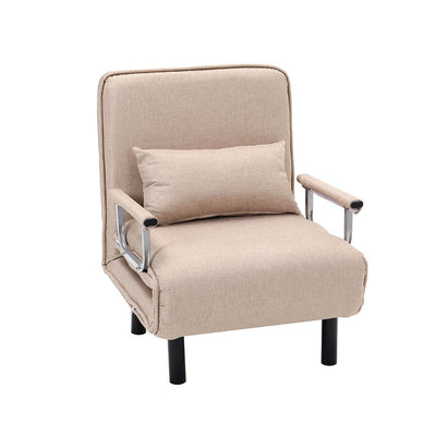 Linen Fabric Padded Single Recliner Sofa Armchair