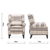 Plaid Fabric Multi-Functional Recliner Armchair
