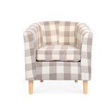 Light Brown Plaid Linen Tub Chair - Lifelook Store