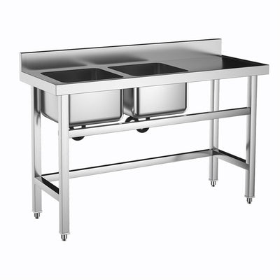 Commercial Stainless Steel Sink Unit 2 Compartment Bowl W/ Right Platform